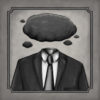 Headless businessman with dark clouds